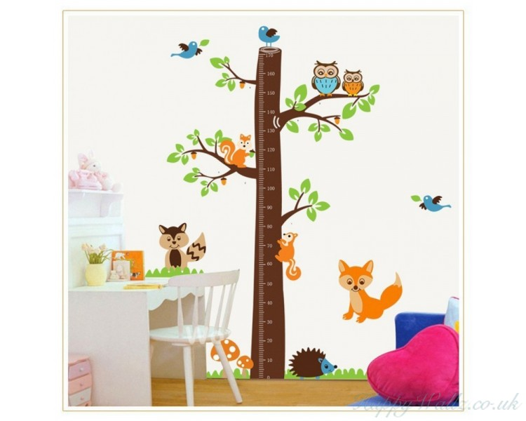 Tree Growth Chart Wall Decal Growth Chart Wall Stickers Tree Owls Mushrooms  Hedgehog Lovely Colorful Stickers Part 49