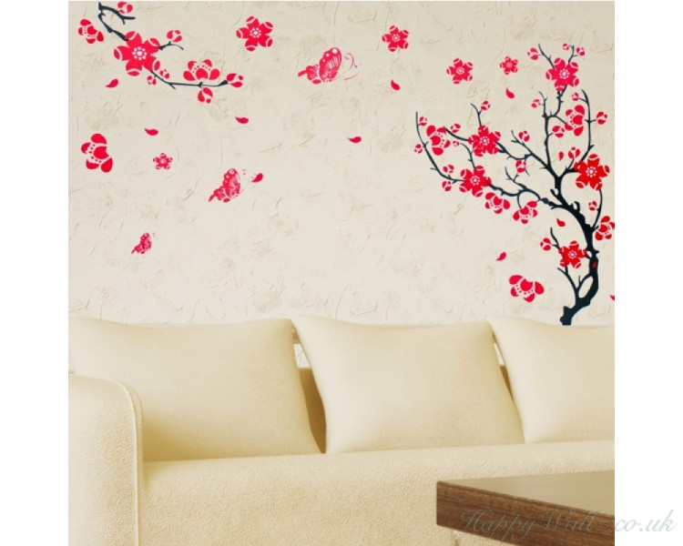 Plum Blossom Flowers Wall Stickers Plum Tree with two Branches Wall Decals Flower Stickers Home Decors Wall Papers