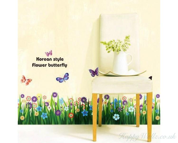 Pleasant Butterfly Grass Flowers Wall Stickers Garden Flower Wall Download Free Architecture Designs Rallybritishbridgeorg