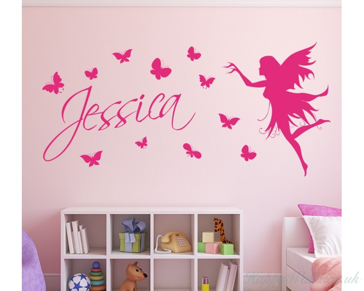 Personalised name sticker with butterflies and fairy