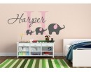 Personalised Name Monogram Sticker with Elephants