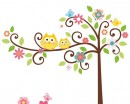 Owl Friends on the Lovely Tree Children Vinyl Wall Decals Nursery Sticker