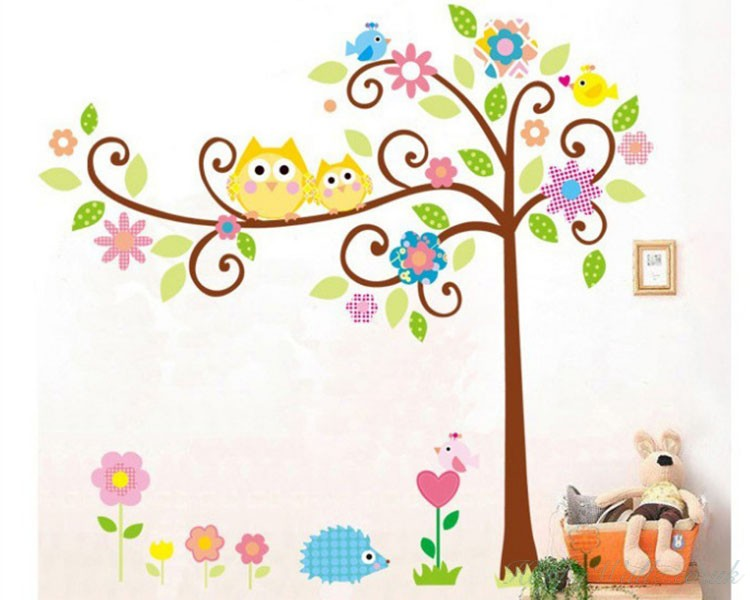 Owl Friends On The Lovely Tree Children Decal