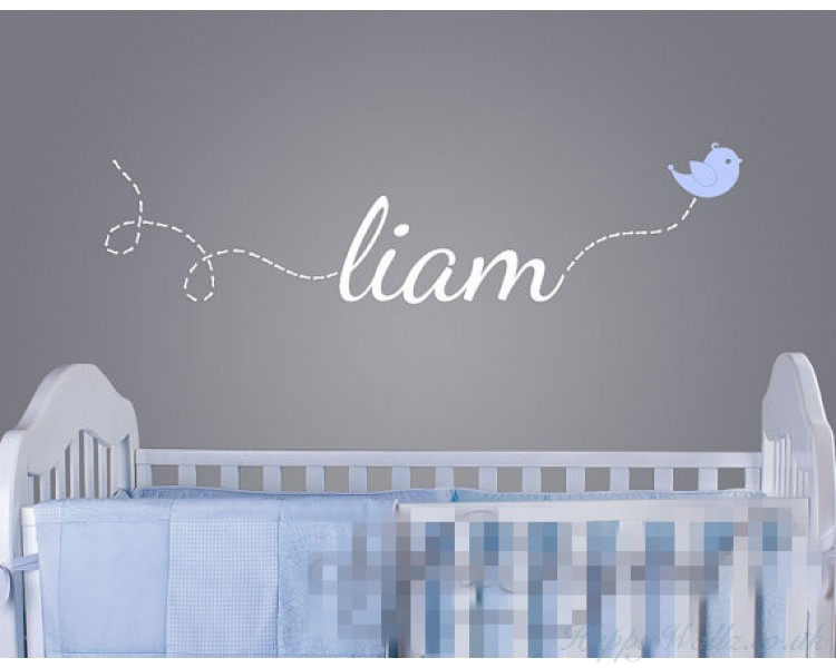 Name decal with a flying bird