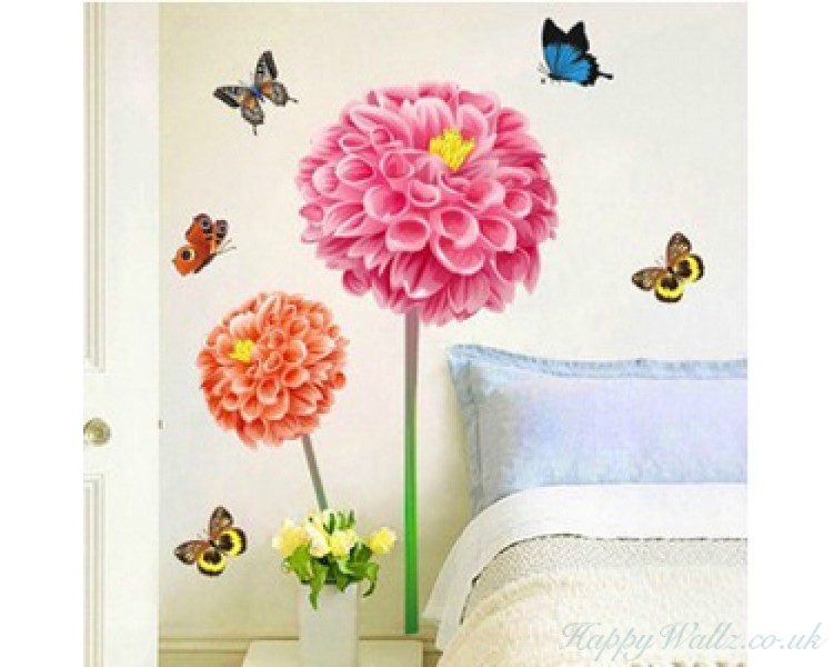 Beautiful Sunflowers Wall Stickers Butterflies Wall Decals For Living Room For Bedroom Wall Art