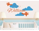 Personalised Baby Name with Airplane and Clouds