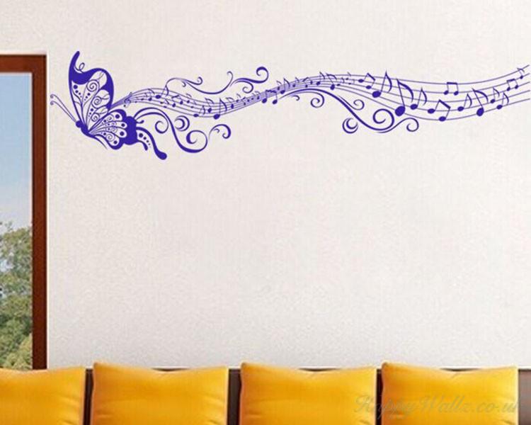 Butterfly Musical Notes Vinyl Decals Modern Wall Art Sticker