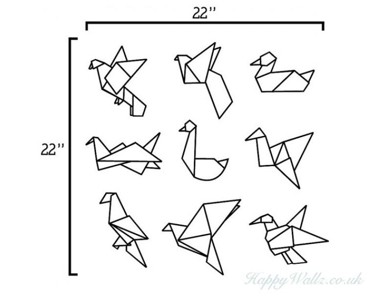 Origami Birds Vinyl Wall Decal