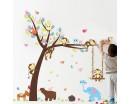 Monkey Friends Animals on the Lovely Tree Children Vinyl Wall Decals Nursery Sticker