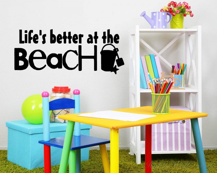 Life is better at the beach decal vinyl lettering wall beach decal life is better at the beach decal vinyl lettering wall beach decal for living room publicscrutiny Choice Image