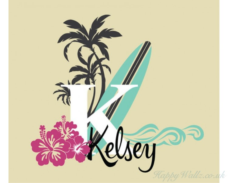 aa681810ae Surfer Girl Name Decal - Vintage Style Monogram - with surfboard ...
