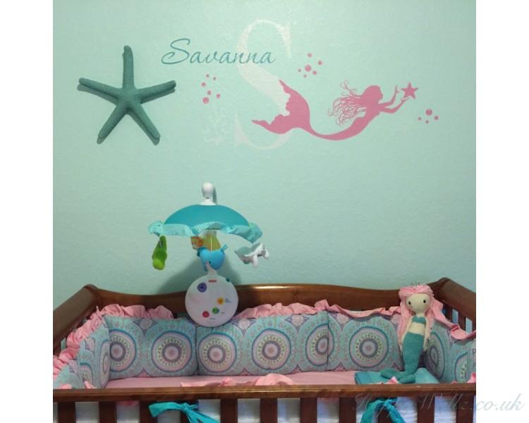 mermaid wall decal - custom made mermaid wall decal - girl name