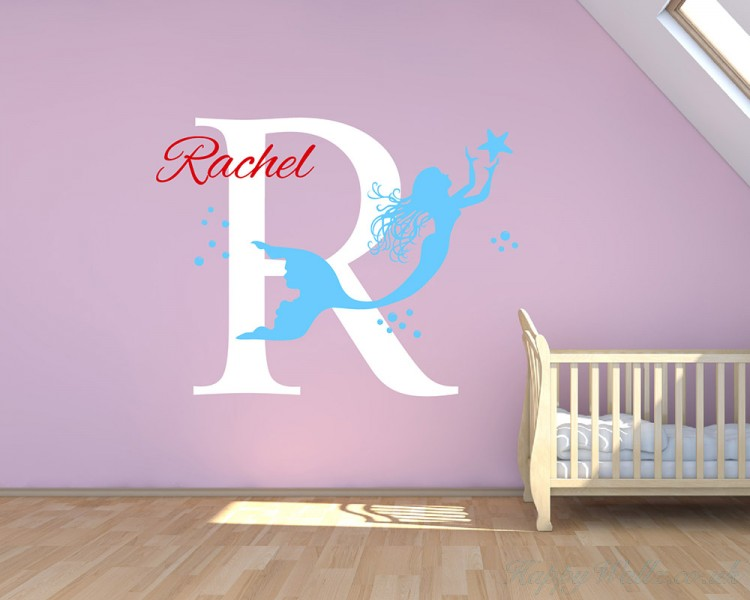 mermaid wall decal - custom made mermaid wall decal - girl name decal