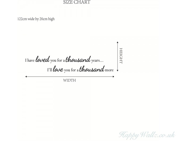 3a65a115aa I have loved you a thousand years wall decal - bedroom wall decal - love  wall decal - Love ...