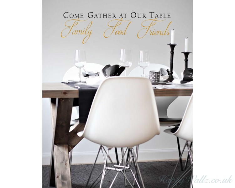 Come Gather At Our Table Decal With, Dining Room Wall Decals