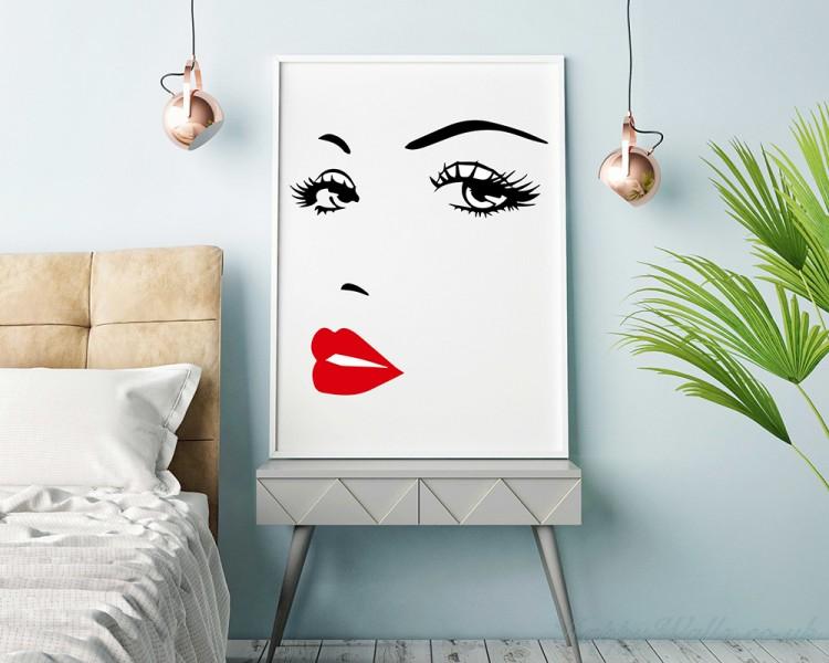 eyes lips - girl woman face make up fashion love,vinyl wall art