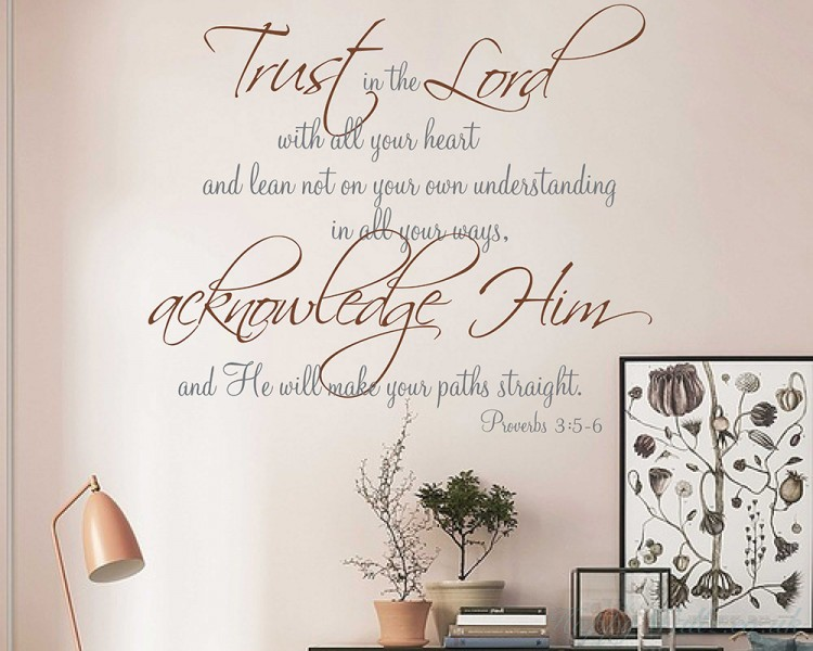 religious quote vinyl wall decal, trust in the lord with all your