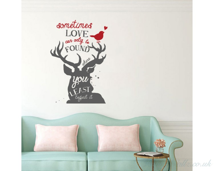 Sometimes Love Can Only Be Found Where You Least Expect To -Deer- Holiday Decor - Christmas Vinyl Decal