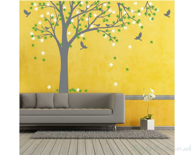 maple tree-tree leaves birds wall decal for bedroom, office & vinyl