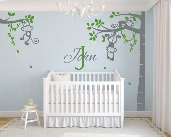 Monkey Tree Wall Decal With Customized Name Vinyl Blossom Tree Wall Decal  And Blossom Tree