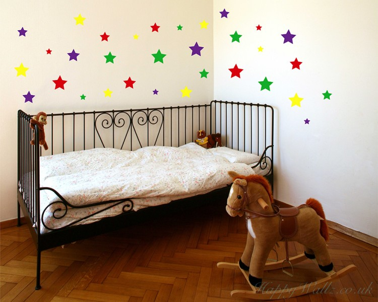 colourful stars wall stickers, wall stickers baby nursery decor,cute