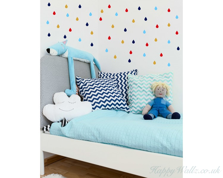 cute little raindrop wall decal, colourful raindrop wall stickers