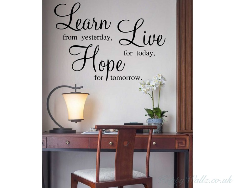 Learn Live Hope Wall Stickers - Quotes Vinyl Office Wall Art ...