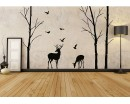 Birch Tree and Deer Wall Decals - Tree Nursery Wall Art - Woodland Nursery Decor
