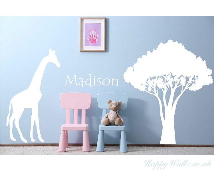 giraffe safari wall decal - customized name decal, african decal