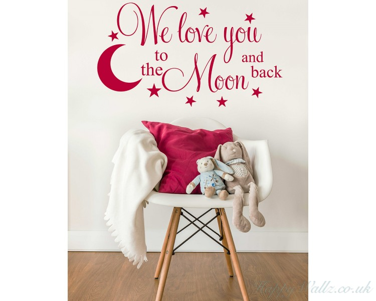 we love you to the moon and back with hanging planets and rocket