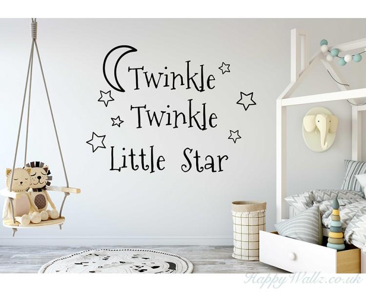 Twinkle Little Star Decals Stars Nursery Decor Baby Room Wall - Nursery wall decals ukbaby nursery wall decor uk baby room wall art uk grey and yellow
