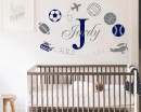 Sports with Boys Name Nursery Wall Decal
