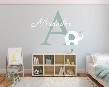Elephant With Customised Name U0026 Monogram Wall Decal For Nursery