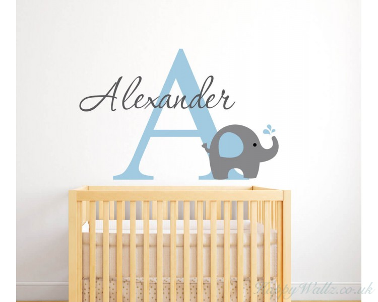 With Customised Name Monogram Wall Decal For Nursery - Monogram wall decals for nursery