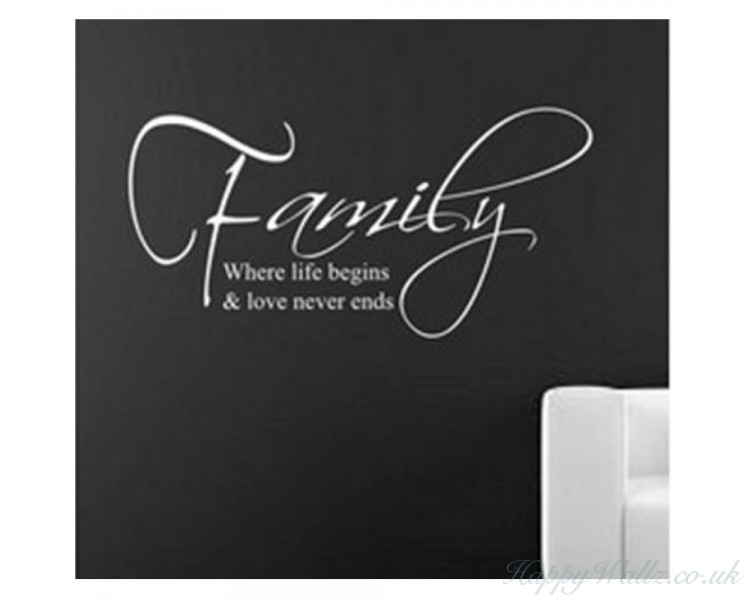 Love Never Ends Quotes Wall Stickers Family Wall Decals Lettering Wall Art For Living Room