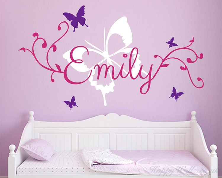 butterfly personalised name wall sticker , flying butterflies and