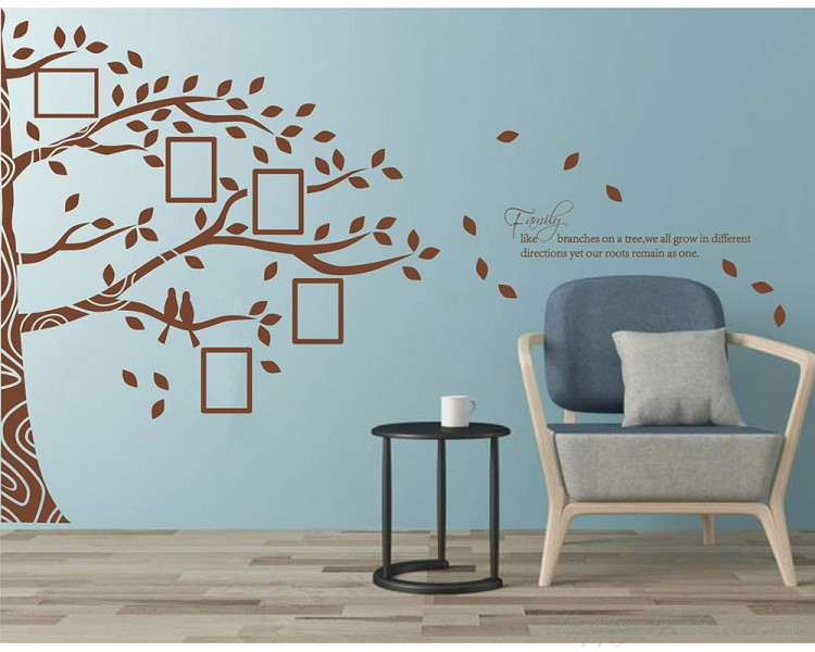family branches with photo frames decal, tree leaves birds wall