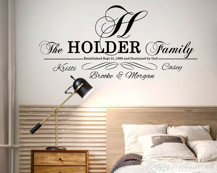 Custom Family Name and Family Members' Name, Family Initial Name Wall Sticker, Monogram Wall Lettering Last Name Wall Decals