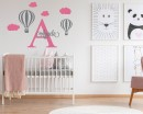 Personalised Baby Name with Hot Air Ballon Wall Decal
