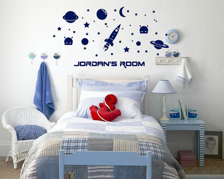Outer Space With Boys Name Decal