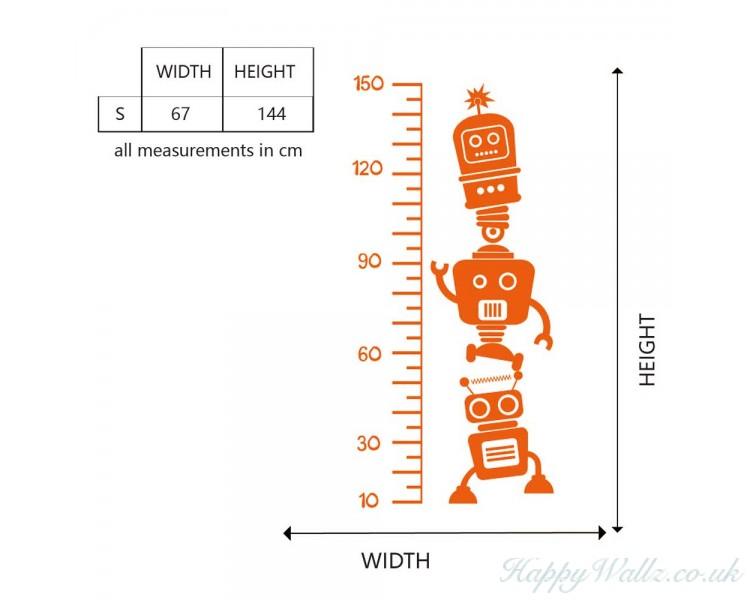 Robot Growth Chart Decal For Children