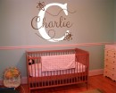 Bumble Bee with Customized Name & Monogram  Wall Decal For Nursery