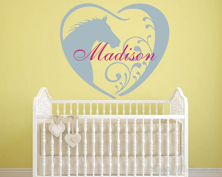 Horse Wall Decal - Personalized Baby Girl Name Decor