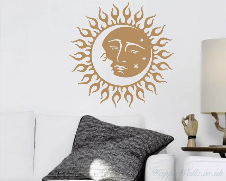 sun and moon vinyl wall decal gold crescent moon wall decals - boho