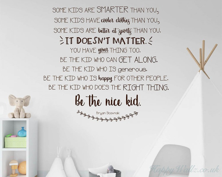 be the nice kid wall decal nursery wall decal-bryan scavnak wall quote