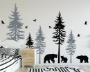 Large Woodland Pine Tree Decals - Five Individual Trees with Animals Decal for Nursery