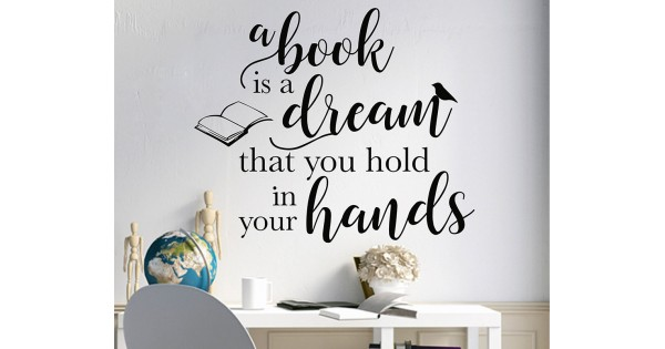 Reading Corner wall sticker A Book is a Dream you hold