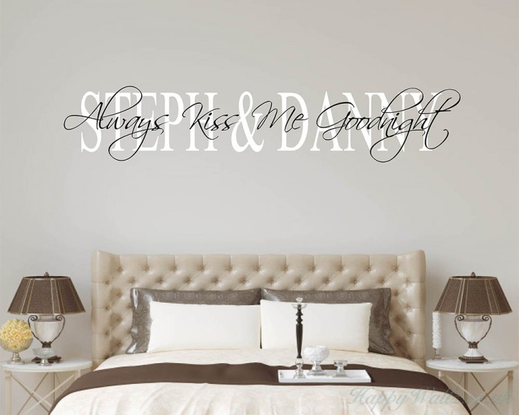 Always Kiss Me Goodnight Quote with Personalized Couple Name Decal