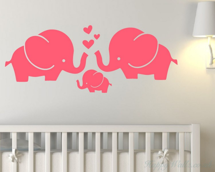 elephant familly wall decal animal stickers for nursery