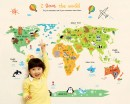 World Map with Animals I Love The World Wall Decal Sticker for Children's Room and Nursery Room